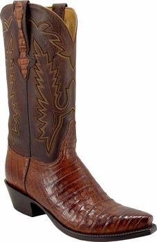 Mens Lucchese Classics Tan Burnished Caiman Crocodile Belly Custom Hand-Made Cowboy Boots L1332