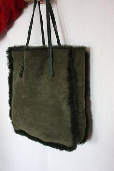 Lamb fur bag FURLA sheepskin shearling tote bag by PitzicatVintage