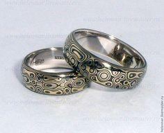 """Свадебные украшения ручной работы. Ярмарка Мастеров - ручная работа. Купить Обручальные кольца в стиле Мокуме Гане """"Трёхцветные"""". Handmade."""