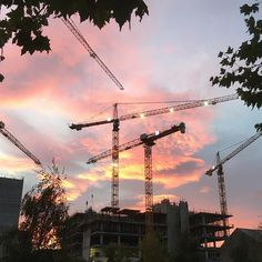 Dublin city of cranes at sunrise Dublin City, Crane, Ireland, Sunrise, Instagram, Irish, Sunrises