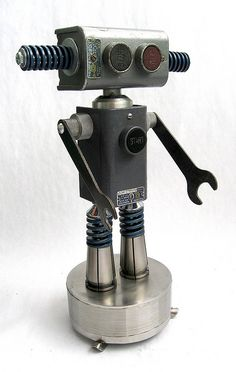 SquareD - Found Object Robot Assemblage Sculpture by Brian Marshall