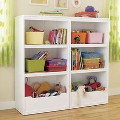 I'm all for white furniture or kids room. It's the one thing i want white. Cause, then you can customize it to match the playroom. Girls Bookshelf, Bookshelves Kids, Bookcases, Playroom Shelves, Playroom Ideas, Kids Storage Furniture, Nursery Furniture, Childrens Book Shelves, White Furniture
