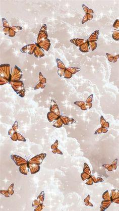 Glittery Cloud Butterfly Wallpaper | Butterfly Wallpaper