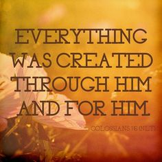 For in him all things were created: things in heaven and on earth, visible and invisible, whether thrones or powers or rulers or authorities; all things have been created through him and for him.  |  Colossians 1:16 (NIV)