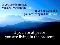 """Junia Bretas from Brasil said this, NOT Lao Tzu! http://ianchadwick.com/blog/poor-lao-tzu-he-gets-blamed-for-so-much/  """"Depressão é o excesso de passado em nossas mentes.  Ansiedade é excesso de futuro.  O momento presente é a chave para a cura de todos os males mentais."""" ~ Junia Bretas"""