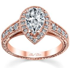 Rose Gold Pear Halo Engagement Ring by deBebians, via Flickr