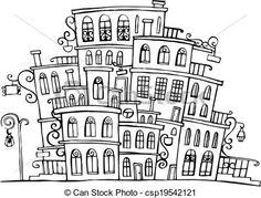 black and white street scene clipart - Buscar con Google
