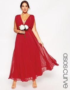 ASOS CURVE WEDDING Maxi Dress with Deep Plunge (Plus Size)