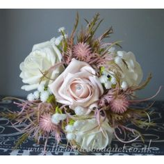 Flower Girl Bouquets - Pink Thistle & Rose Wedding Posy With Gyp - choose rose Colours Pink Wedding Theme, Wedding Matches, Rose Wedding, Petite Bride, Flower Girl Bouquet, Thistle Flower, Pink Color Schemes, Wedding Wraps, Bride Bouquets