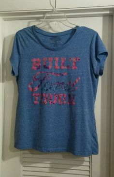 BUILT FORD TOUGH Blue Short Sleeve Shirt With Pink Sparkles XL #FORD #EmbellishedTee