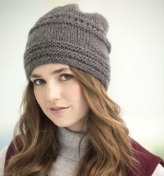 First thing on our knitting to-do list is this Tivoli Slouch Hat! Fan favorite and so cute! Get the free pattern here! Slouch Hat Knit Pattern, Slouchy Hat, Knit Beanie, Easy Knitting, Loom Knitting, Knitting Patterns Free, Charity Knitting, Knitting Machine, Hat Patterns