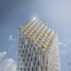escritório dinamarquês de design C.F. Møller projetou um arranha-céu residencial de 34 andares feito de madeira e abastecido por energia solar.
