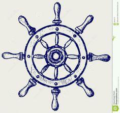 Illustration of Wheel marine wooden vector art, clipart and stock vectors. Helm Tattoo, Kritzelei Tattoo, Tatto Old, Compass Tattoo, Tattoo Flash, Future Tattoos, New Tattoos, Small Tattoos, Tatoos