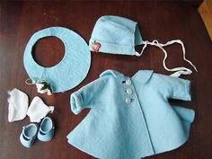 1957 Vogue Ginnette Doll Outfit #7751 Blue Felt Coat & Bonnet Blue Shoes Clothes
