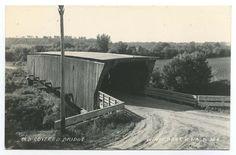Winterset Iowa old covered bridge L.L. Cook postcard