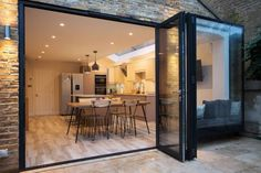 When designing a side return extension, the provision of natural light is an important consideration. On this project we installed a glass roof, which is an excellent way of maximising . House Extension Design, Glass Extension, Extension Designs, Rear Extension, House Design, Extension Ideas, Roof Design, Open Plan Kitchen Living Room, Kitchen Dining Living