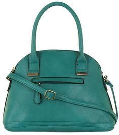 Green hidden pocket bowler bag