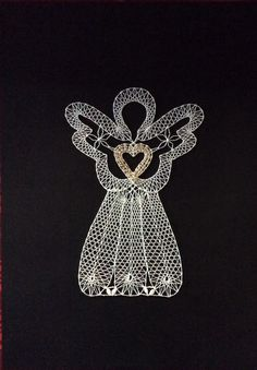 Romanian Lace, Crochet Angels, Lace Heart, Lace Jewelry, Bobbin Lace, String Art, Lace Detail, Angeles, Xmas
