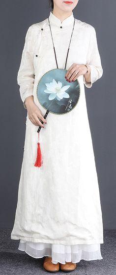 a1876baba4f9 Beautiful stand collar Button Down silk linen dress Korea Work white Maxi  Dresses