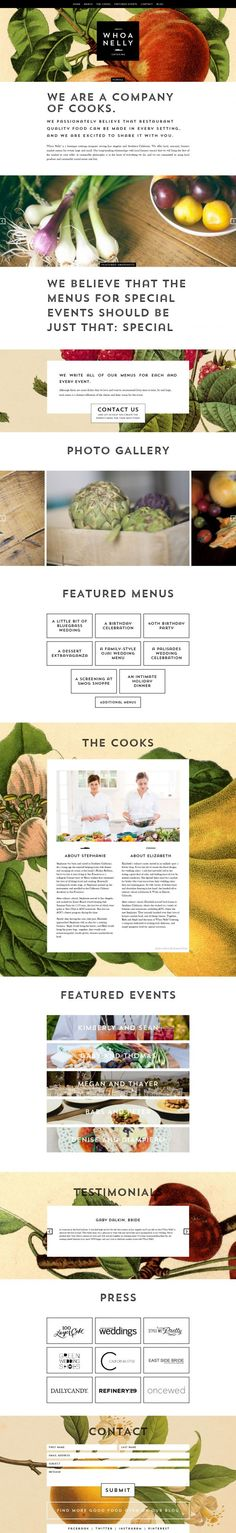 Whoa Nelly Catering - Seasonal SoCal Catering Website design layout. Inspirational UX/UI design sample. Visit us at: www.sodapopmedia.com #WebDesign #UX #UI #WebPageLayout #DigitalDesign #Web #Website #Design #Layout