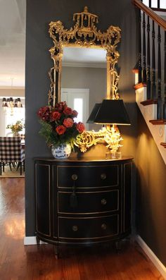 # Ethan Allen Coral lamp Chinoisere mirror Stratton chest in Black and gold Williams- Black fox wall Stunning entry! # Ethan Allen Coral lamp Chinoisere mirror Stratton chest in Black and gold Williams- Black fox wall