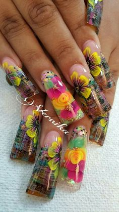 Flower Nail Designs, Blue Nail Designs, Fall Nail Designs, Beautiful Nail Designs, Beautiful Nail Art, Gorgeous Nails, Duck Nails, Fan Nails, Exotic Nails