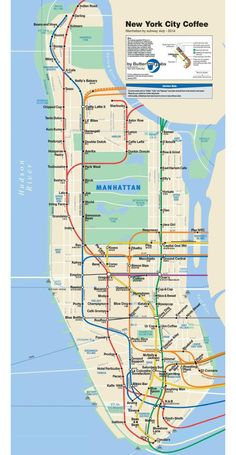 Pretty handy: This NYC subway map tells you where to get the best coffee.