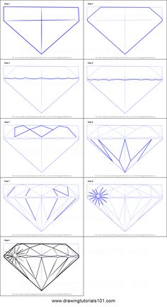 How to Draw a Diamond printable step by step drawing sheet : DrawingTutorials101.com