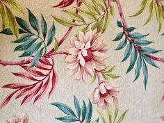Climbing Flowers and Foliage Mid Century Barkcloth// by KimberlyZ, $79.00