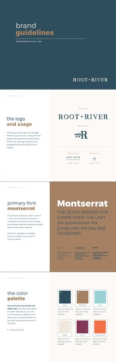 3 Resolutions for Better Branding in 2017 root + river Brand Style Guide example by Pace Creative Design Studio Logo Branding, Branding Your Business, Corporate Branding, Business Cards, Brand Identity Design, Graphic Design Branding, Corporate Design, Brand Design, Mark Making