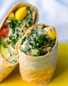 Kale Hemp Hummus Wrap by healthyhappylife...delicious!  My husband is vegetarian so I made this wrap for him, while our guests and I ate fish.  We had the kale salad on top of grilled salmon on a roll, it was fabulous!