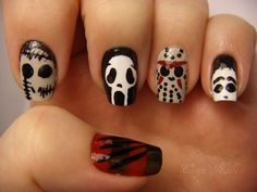 Slasher Nails: Freddy (Thumb), Leather Face (Tx Chainsaw Massacre), Ghost Face (Scream), Jason (Friday 13th) and Michael Myers (Halloween)