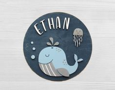 Your place to buy and sell all things handmade Painted Wooden Signs, Wooden Name Signs, Baby Name Signs, Wooden Wall Art, Whale Nursery, Nursery Signs, Nursery Room Decor, Gravure Laser, Wooden Wreaths