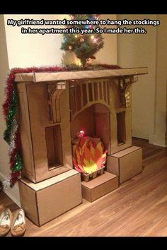 Cardboard box fireplace