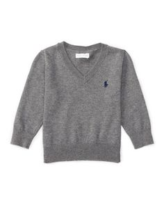 V-Neck+Elbow-Patch+Sweater,+9-24+Months+by+Ralph+Lauren+at+Neiman+Marcus.