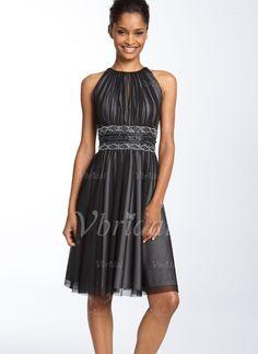 Kleider für die Brautmutter - $147.19 - A-Linie/Princess-Linie U-Ausschnitt Knielang Tüll Charmeuse Kleid für die Brautmutter mit Rüschen Perlenstickerei (00805007020)