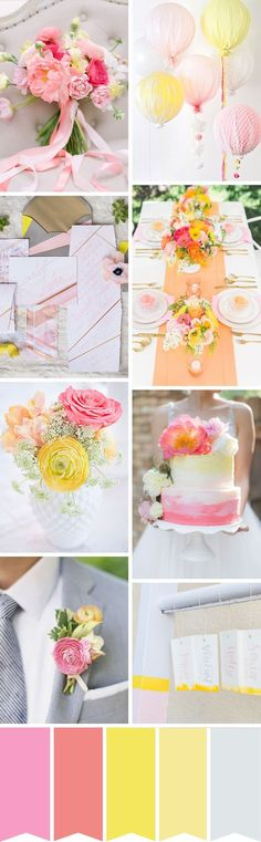 Pink, coral and yellow wedding inspiration | http://www.onefabday.com