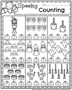 Preschool Counting Worksheets for October.