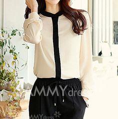 $8.65 Elegant Round Neck Color Block Long Sleeve Women's Shirt