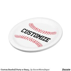 Custom Baseball Party or Banquet Paper Plates! Customize with your team name or any other text! #baseball #beisbol #paper #plate #paperplates #party #banquet