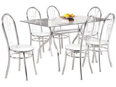 Conjunto de Mesa Madri Aço Cromado 6 Cadeiras - Design Final Madri e Egeu com as melhores condições você encontra no Magazine Edmilson07. Confira!