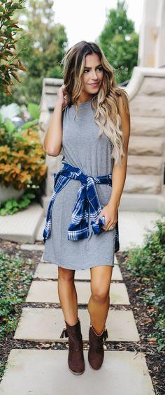 Soft Sleeveless T-Shirt Dress- Charcoal - Dottie Couture Boutique