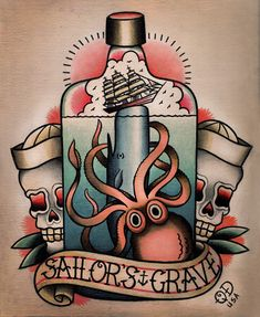 Octopus and Whale Nautical 'Sailors Grave' Tattoo Flash | KYSA #ink #design #tattoo
