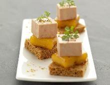 Bouchées de foie gras à la mangue