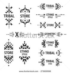 Set of abstract logo with tribal, ethnic, geometric elements, hipster logo, business label, navajo stile isolated on white background - stock vector