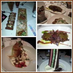 Ceviche sampler, arrachera, Latino wedge with crispy Serrano ham, and ice cream cake (colors of Mexican flag :) at Carnivale Chicago
