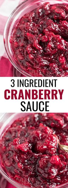 This healthy 3 ingredient cranberry sauce is made in minutes and the star of the Thanksgiving table! Once you taste this you'll never go back to the canned stuff ever again! #cranberrysauce #thanksgiving #vegan #vegetarian