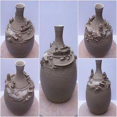 "Earth Wool Fire — Fishing village on a bottle.  12"" tall unfired..."