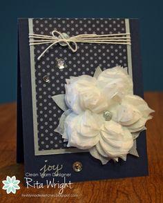 I love making tissue flowers, so I whipped this one up for Debbi's HYCCT challenge.  :)    http://ritascreations.blogspot.com/2014/11/freshly-made-tissue-flower.html