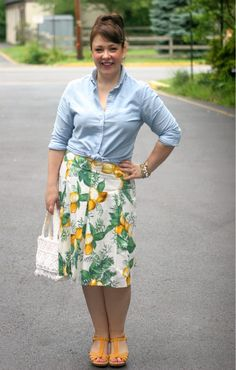 Lands End Canvas oxford, Talbots skirt, vintage bag, Born sandals